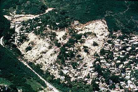 The Mameyes Landslide, in the Mameyes neighborhood of barrio Portugues Urbano in Ponce, Puerto Rico, which buried more than 100 homes, was caused by extensive accumulation of rains and, according to some sources, lightning. Mameyes.jpg