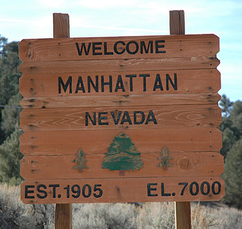 English: Welcome sign outside Manhattan, Nevada