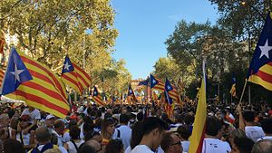 Go ahead, Catalan Republic - Passeig de Sant Joan, Barcelona, during the demonstration.