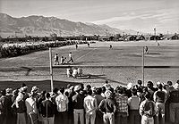 A baseball game at Manzanar. Picture by Ansel Adams circa 1943.