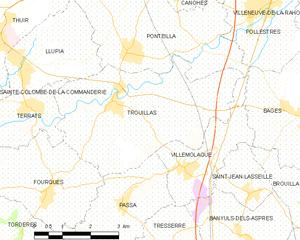 Trouillas - Map of Trouillas and its surrounding communes