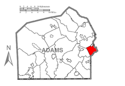 Map of Adams County, Pennsylvania highlighting Berwick Township