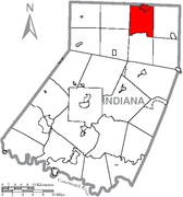 Map of Indiana County, Pennsylvania Highlighting Canoe Township.PNG