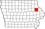 Map of Iowa highlighting Delaware County.svg