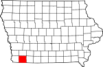 Map of Iowa highlighting Page County.svg