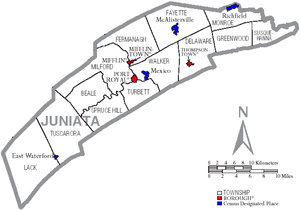 Map of Juniata County Pennsylvania With Municipal and Township Labels.png