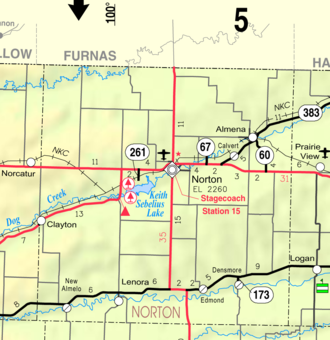 Norton, Kansas - Image: Map of Norton Co, Ks, USA