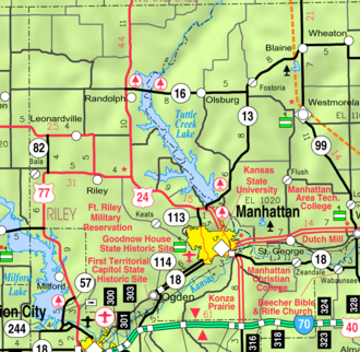 Riley County, Kansas - Image: Map of Riley Co, Ks, USA