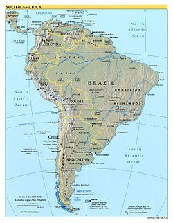 מפה מדינית של אמריקה הדרומית