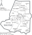 Map of Wayne County North Carolina With Municipal and Township Labels.PNG