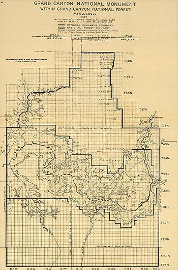 Карта Гранд Каньона и прилегающих территорий от 1908 года.