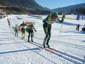 Lago di Tesero Cross Country Stadium - Skiers passing through the stadium during Marcialonga 2011