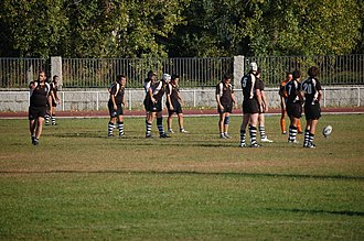 Rugby union in Portugal - Players from Mareantes Rugby Clube before kick off