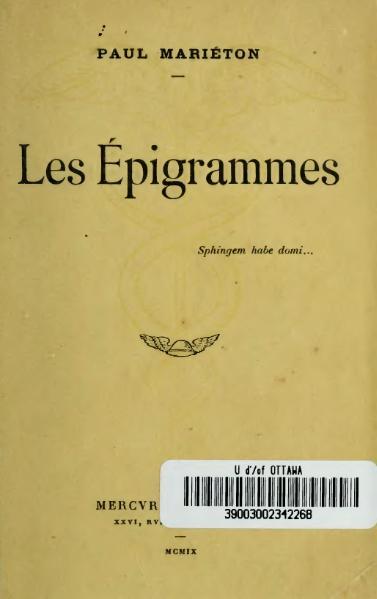 File:Mariéton - Les Épigrammes, 1909.djvu