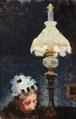 Marie Luplau og Emilie Mundt - Portræt af en kvinde siddende ved lampens skær - 1886.png