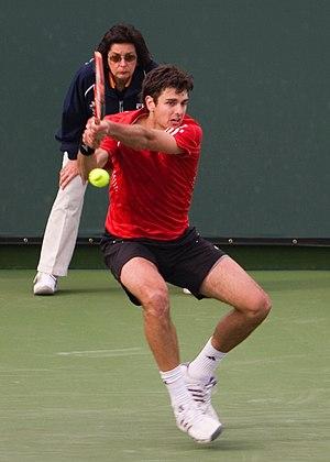 Mario Ančić - Ančić hitting a backhand at the 2008 Indian Wells Masters