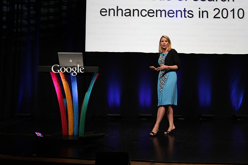 Marissa Mayer speaking at the Google 'Search On' event in 2010
