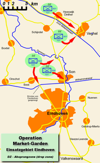 Map of US landings near Eindhoven