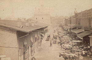 Market Square, Knoxville - View of Market Square, with the first Market House on the left