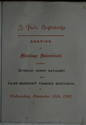 Seymour Bathurst, 7th Earl Bathurst - Marriage Solemization service for S.H. Bathurst and L.M.F. Borthwick 15 November 1893, Knightsbridge.