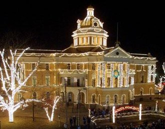 Northeast Texas - The Old Courthouse in Marshall during the Wonderland of Lights, the largest light festival in Northeast Texas. Tourism is one of Northeast Texas's most important industries.