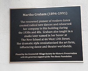 Martha Graham Dance Company - On June 9th 2013, The Greenwich Village Society for Historic Preservation unveiled this plaque at 66 Fifth Avenue where Graham had her studio in the 1930s and 40s.