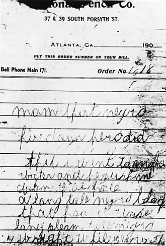 Leo Frank - One of the two murder notes found near the body
