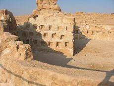 Dovecote at Masada, where ashes were probably stored — the openings have been shown to be too small for pigeons to fit.