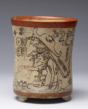 Bee (mythology) - Mok Chi', patron deity of beekeepers, on a codex-style Maya vessel.