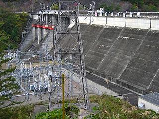 Mazegawa Dam dam in Gero, Gifu Prefecture, Japan.