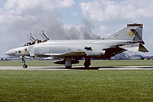 A No. 43 Squadron McDonnell Douglas F-4K Phantom FG.1, an aircraft closely associated with RAF Leuchars.