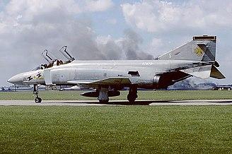 RAF Leuchars - A No. 111 Squadron McDonnell Douglas F-4K Phantom FG.1, an aircraft closely associated with RAF Leuchars.