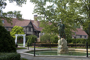 Avard Fairbanks - A view of Meadowbrook Hall from the northeast garden with the Pegasus sculpture by Avard Fairbanks