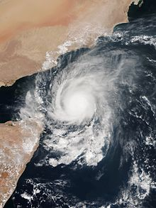 A satellite image of Extremely Severe Cyclonic Storm Megh (05A) at peak intensity just north of the island of Socotra in the Arabian Sea on 8 November