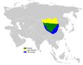 Melanocorypha mongolica distribution map (HU).png