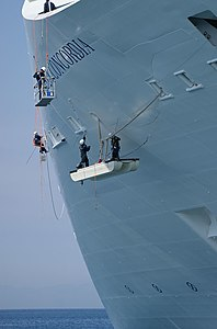 Men at Work on the Costa Concordia in Rhodes Harbour - April 2009.jpg