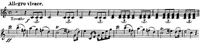 Trumpet part, including main theme, of the Wedding March from Mendelssohn's Op. 61 (Source: Wikimedia)
