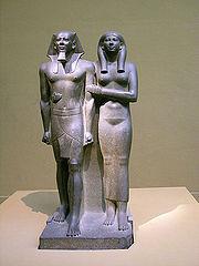 Estatua del rey Micerino y su reina