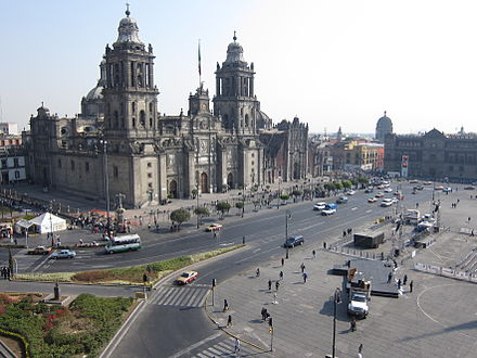 The Mexico City Metropolitan Cathedral was built by the Spaniards over the ruins of the main Aztec temple Mexico City Zocalo Cathedral.jpg