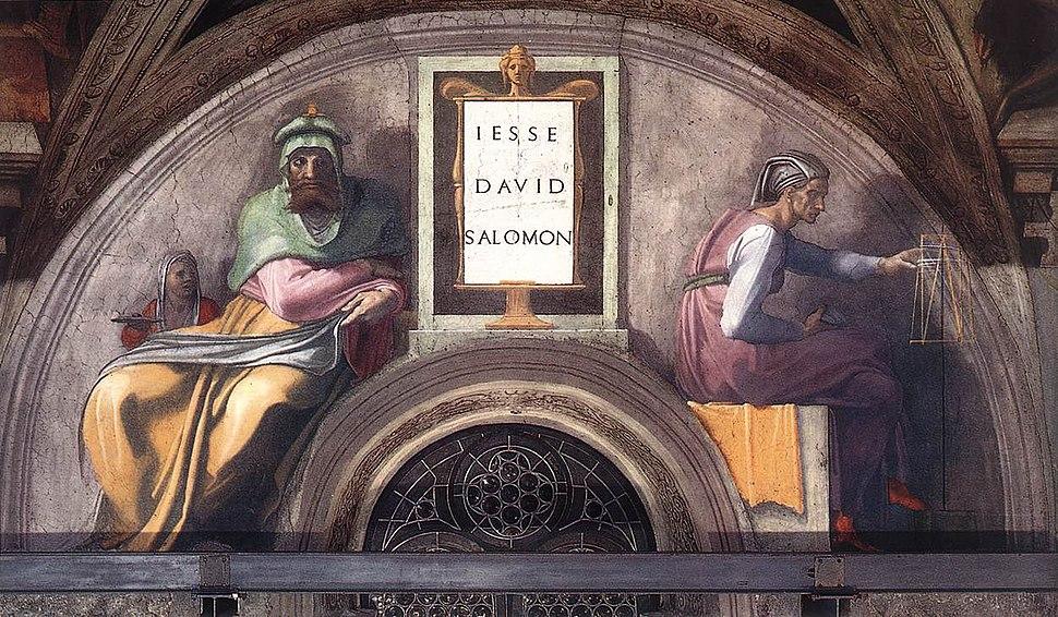 Michelangelo, lunetta, Jesse - David - Solomon 01
