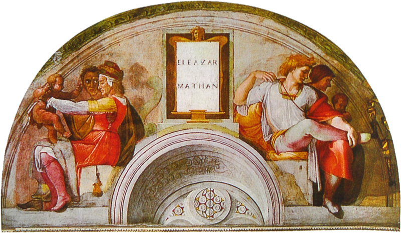 File:Michelangelo - Sistine Chapel - Lunette Eleazar and Mathan.png