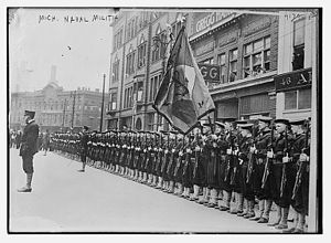 Naval militia - The Michigan Naval Militia standing at attention (at present arms).
