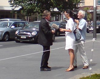 Mike Lee (New Zealand politician) - Image: Mike Lee Being Interviewed Outside Council