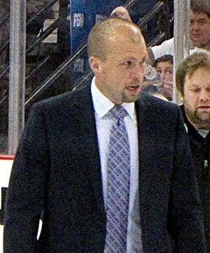 Mike Yeo - Mike Yeo with the Pittsburgh Penguins in the 2010 playoffs.