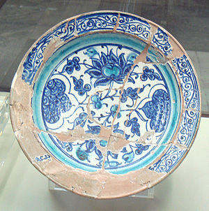 Slip (ceramics) - Miletus ware showing a red body covered by white slip, end of 14th-early 15th century, Turkey.
