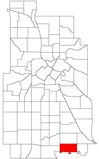 Wenonah's boundaries (top) and location within Minneapolis (bottom)