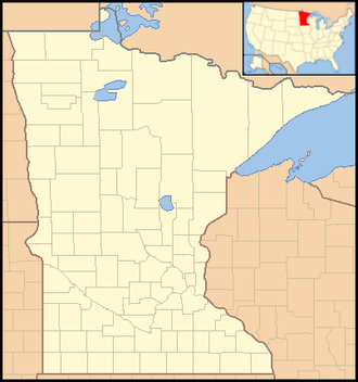 Glendalough State Park - Image: Minnesota Locator Map with US