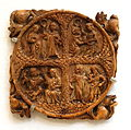 Mirror Back with Four Pairs of Lovers, France, 14th century, elephant ivory, lent by Metropolitan Museum of Art - Chazen Museum of Art - DSC01924.JPG