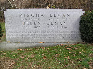 Mischa Elman - The headstone of Mischa Elman in Westchester Hills Cemetery