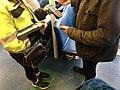 Mobile portable ticket sale debit and credit card payment machine reader, money bag with money changer coin dispenser, etc. for ticket sale on car ferry (billettkjøp på bilferge) Venjaneset-Hattvik line, Norway 2018-03-21 A.jpg